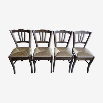 Set of four straw chairs