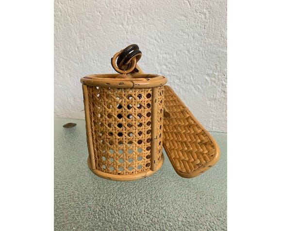 Applique lanterne en rotin et cannage vintage