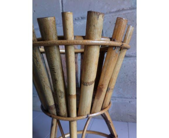 Porte-plante bambou et rotin tripode des années 50