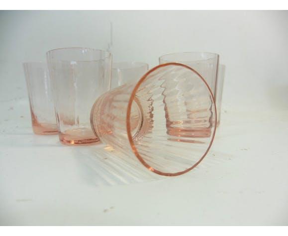 Ensemble de 6 verres à liqueur de couleur rose