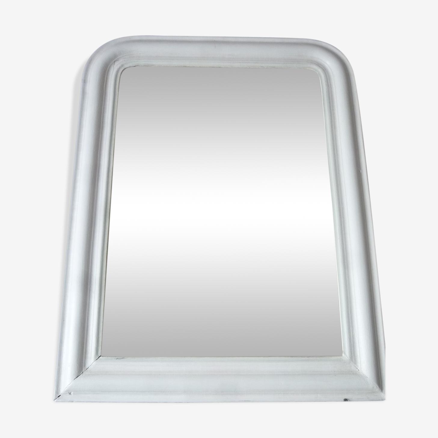 Miroir XIX ème cadre blanc 52 x 68 cm