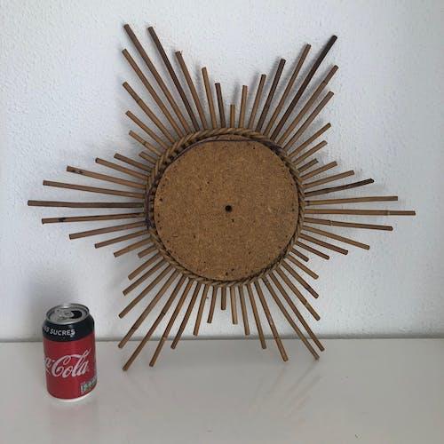 Miroir étoile hexagramme rotin vintage 1960 - 56 cm