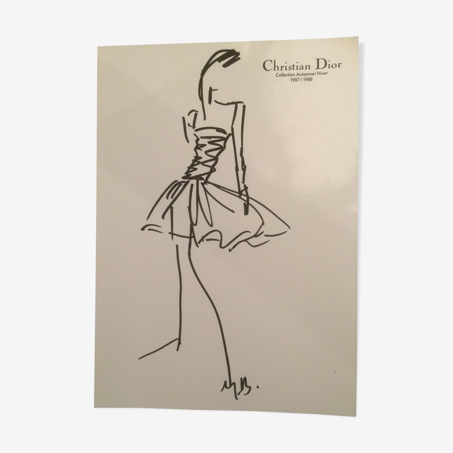 Croquis de mode de presse vintage Christian Dior