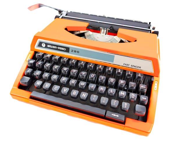 Machine à écrire Silver Reed fast Spacer Seiko orange vintage