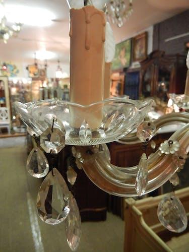 Lustre à pampilles en verre taillé 6 lumières