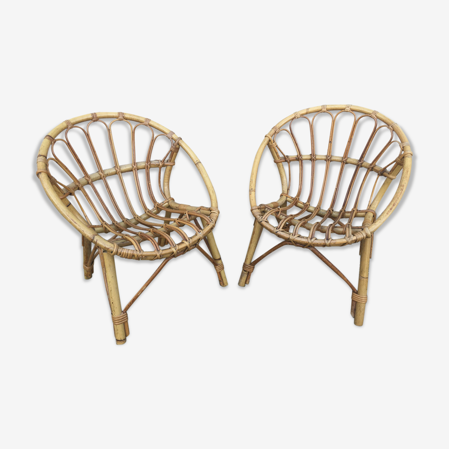 Duo of rattan armchairs
