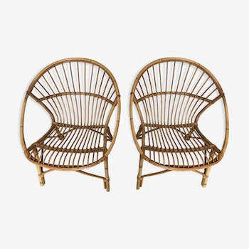 Pair of rattan chairs