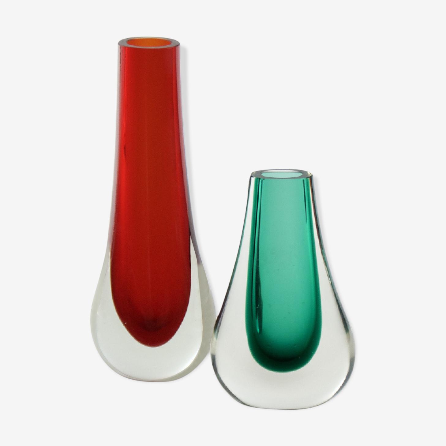 Duo de vases en verre Sommerso années 60