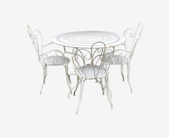 Salon de jardin vintage en fer - fer - blanc - vintage - EbhFezu