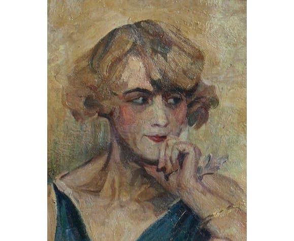 Portrait de femme élégante des années 1930, huile sur toile et cadre doré.