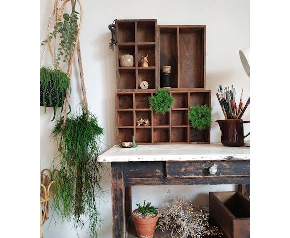 Étagère industrielle, casier en bois atelier ancien