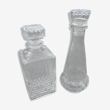 Duo of vintage whisky decanters