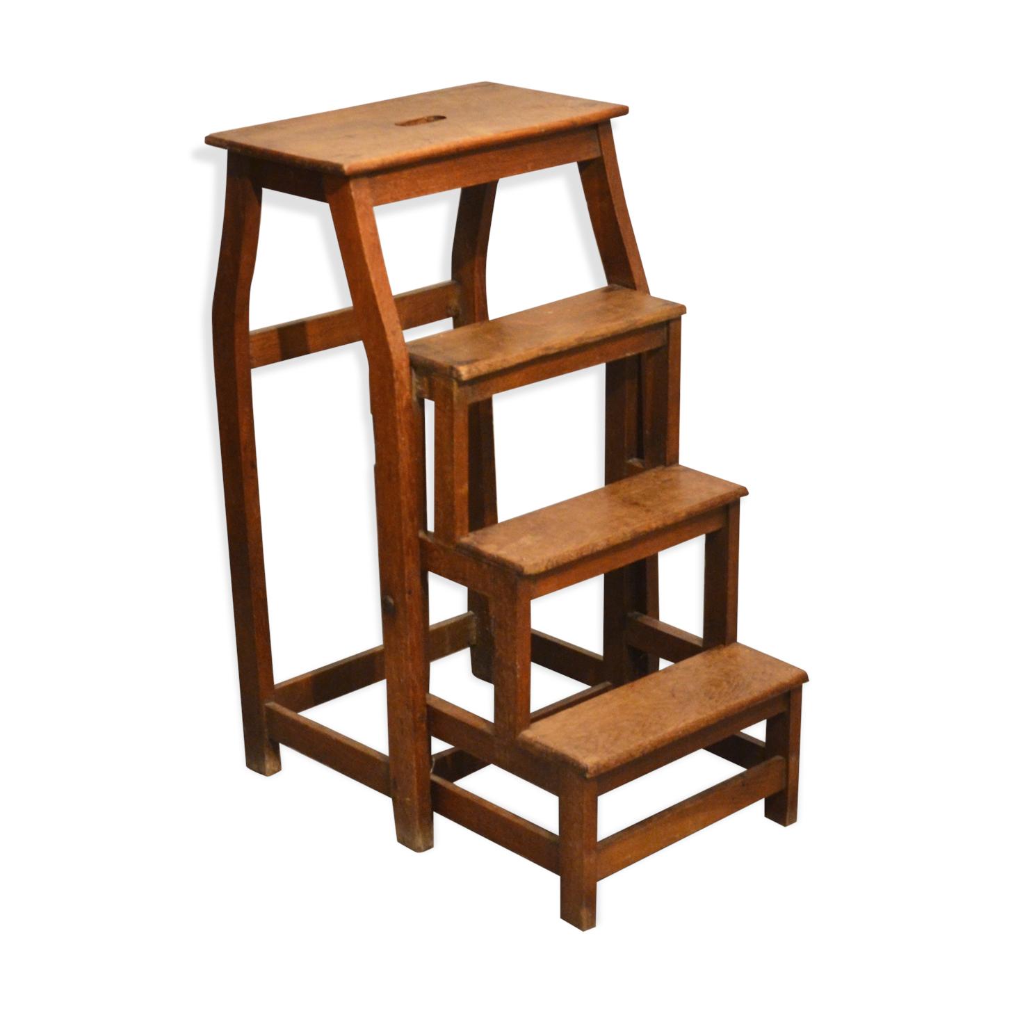 escabeau ancien de bibliothèque en bois massif - bois (matériau