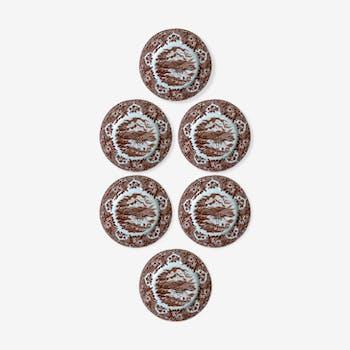 Six english ironstone porcelain dessert plates