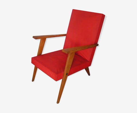 Fauteuil en skaï rouge années 50