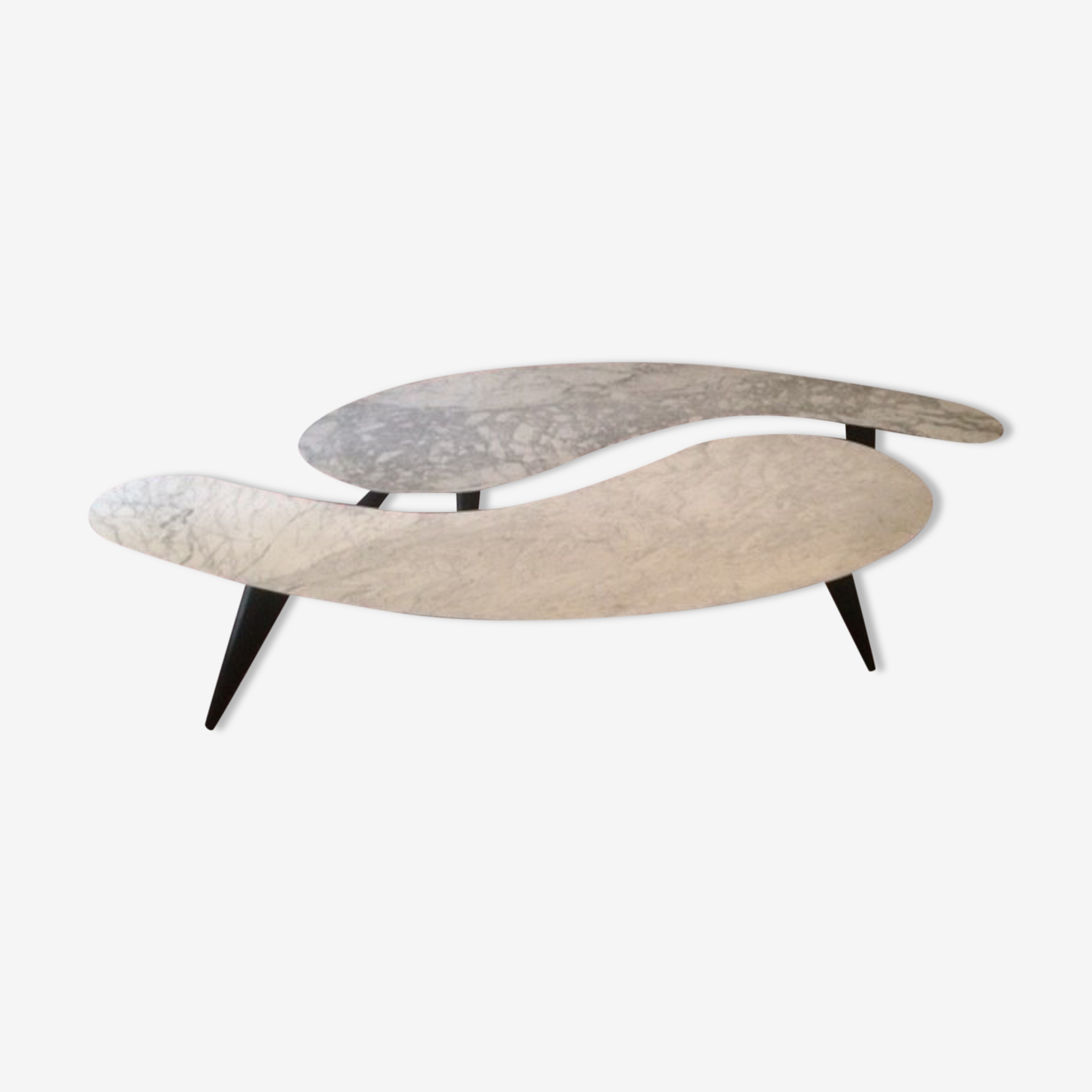 Pair of coffee tables in marble of Carrara