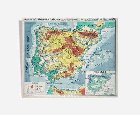 World Map Iberian Peninsula.French Vintage Poster Double Sided Spain Iberian Peninsula Paper
