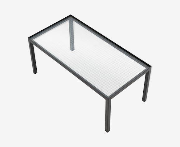 Table d'appoint minimaliste en acier et verre Janni Van Pelt pour ''My Home'', années 1950