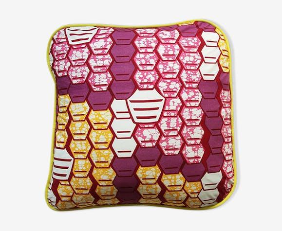 Coussin Honeycomb en tissu wax africain