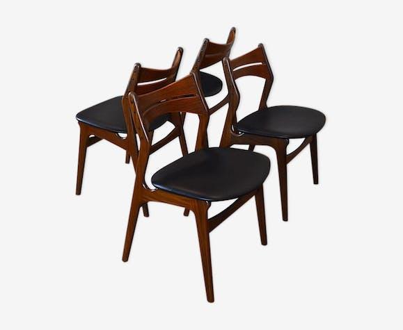 Suite De 4 Chaises Danoise En Teck Vintage 1960 Erik Buck