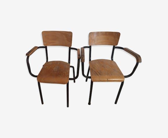 Lot de 2 chaises maître d'école vintage