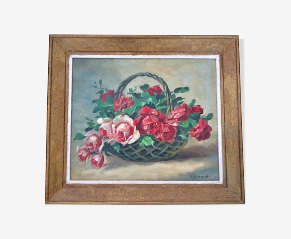 Tableau Panier de roses 1950 signé