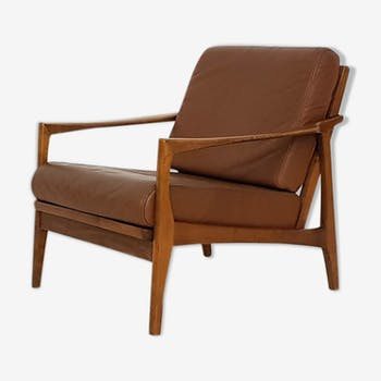 Armchair with brown leather cushions, Germany 1960