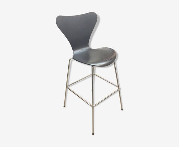 Bar stool Arne Jacobsen for Fritz Hansen series 7 black