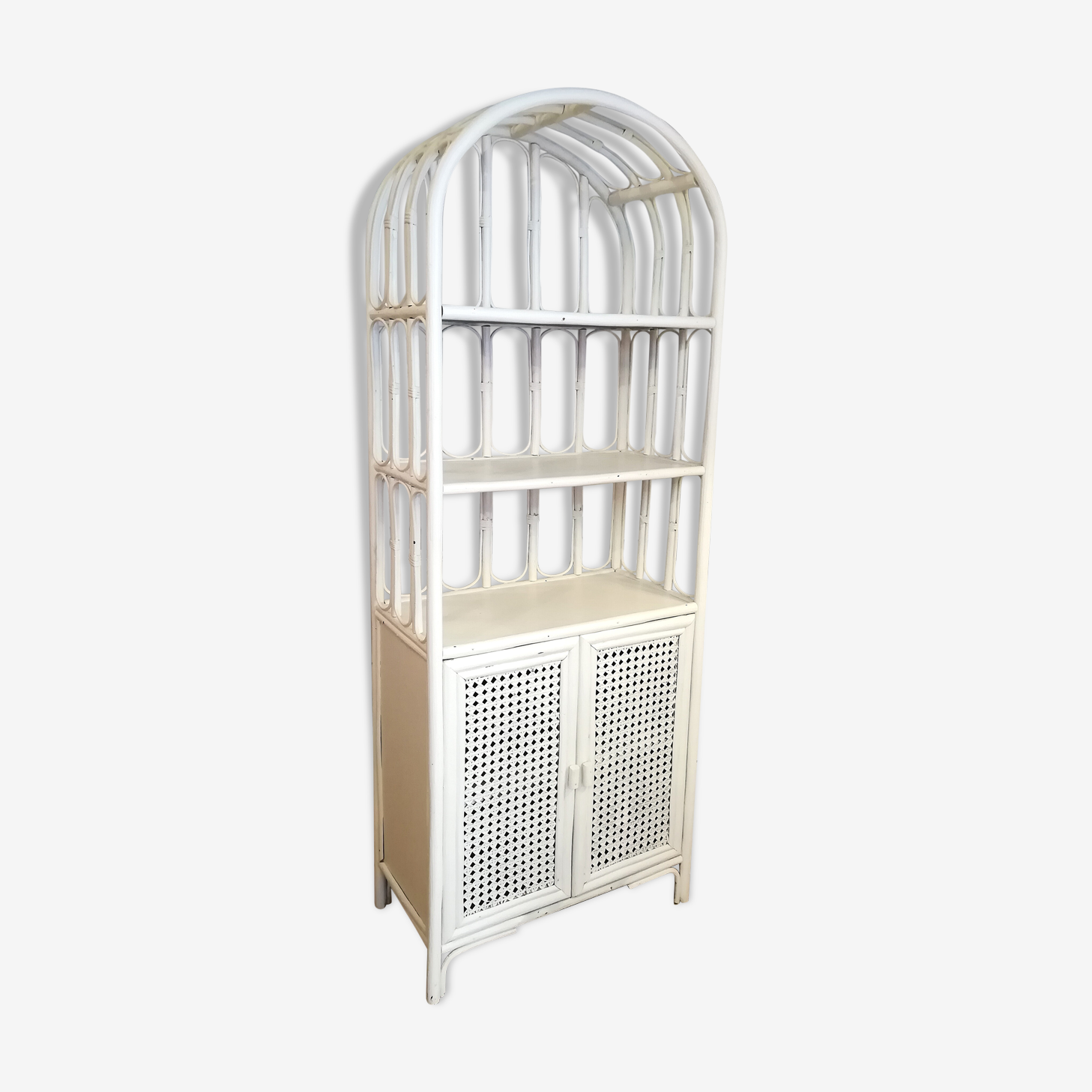 Bibliothèque rotin bambou blanc vintage