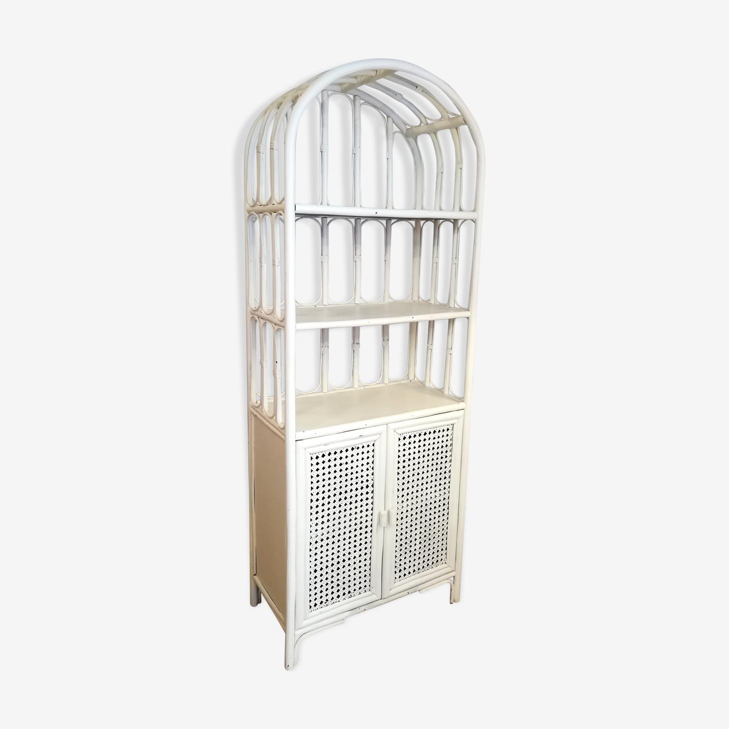 Vintage white rattan bamboo bookcase