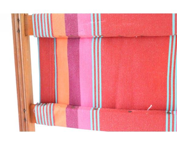 Chaise pliante, tissus rayé, bois, vintage