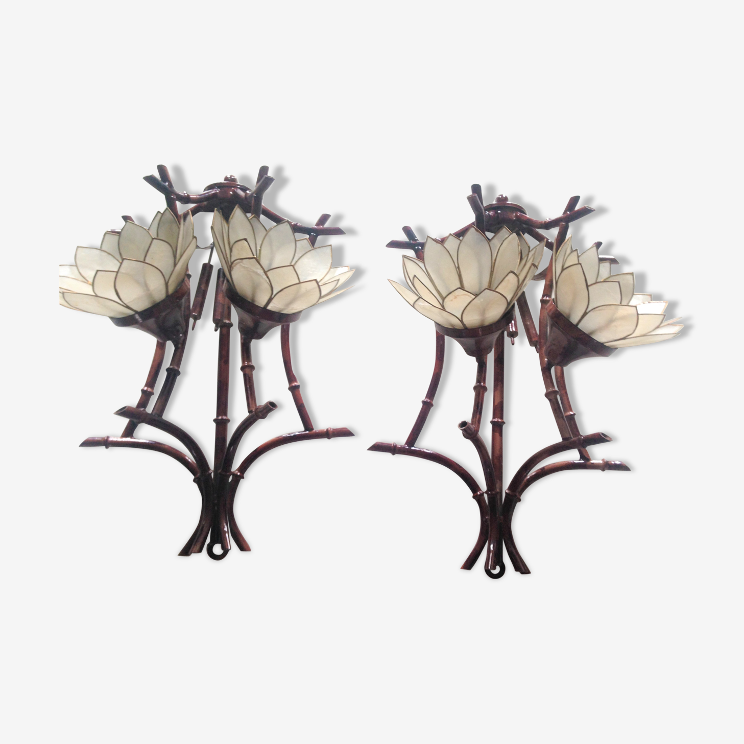 Pair of vintage appliques in metal and mother-of-Pearl