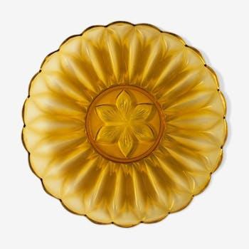 Plat en verre de couleur ambre