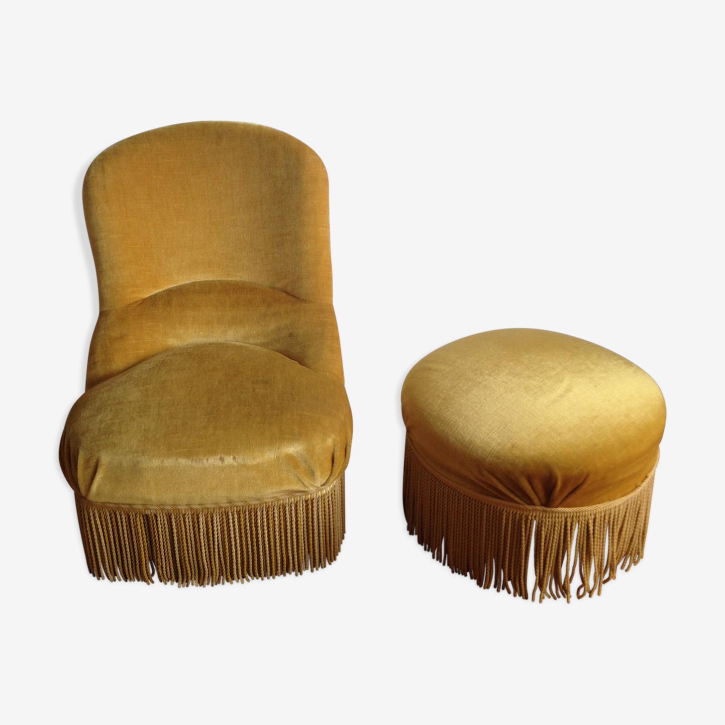 Fauteuil crapaud et pouf velours jaune