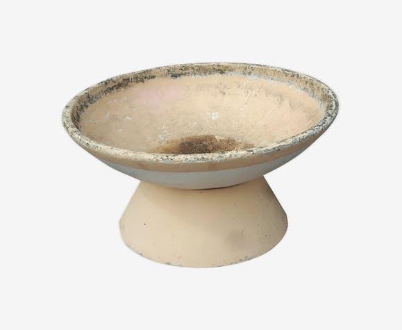 Jardinière vasque ronde - pierre et plâtre - beige ...