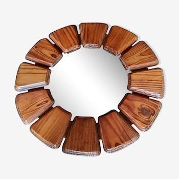 Miroir soleil des années 70 en bois 52cm