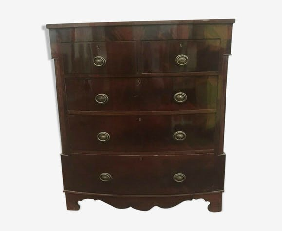 Victorian mahogany veneer dresser has four rows of drawers