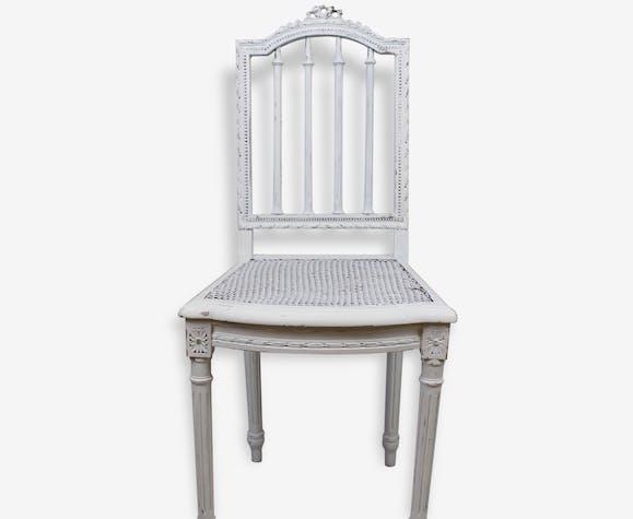 Chaise Louis XVI Patine blanche Shabby Chic - bois (Matériau ...