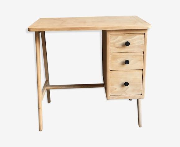 Bureau vintage bois clair bois matériau beige scandinave