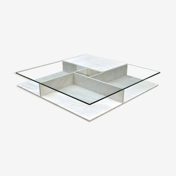 Low stone and glass table (Persian marble)