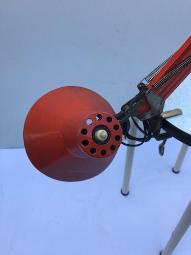Architect articulated metal globe orange vintage 50s desk lamp