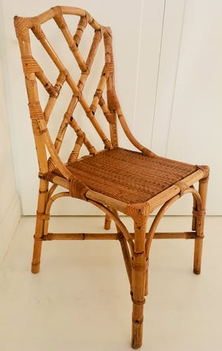 Pair of Italian chairs in bamboo and rattan