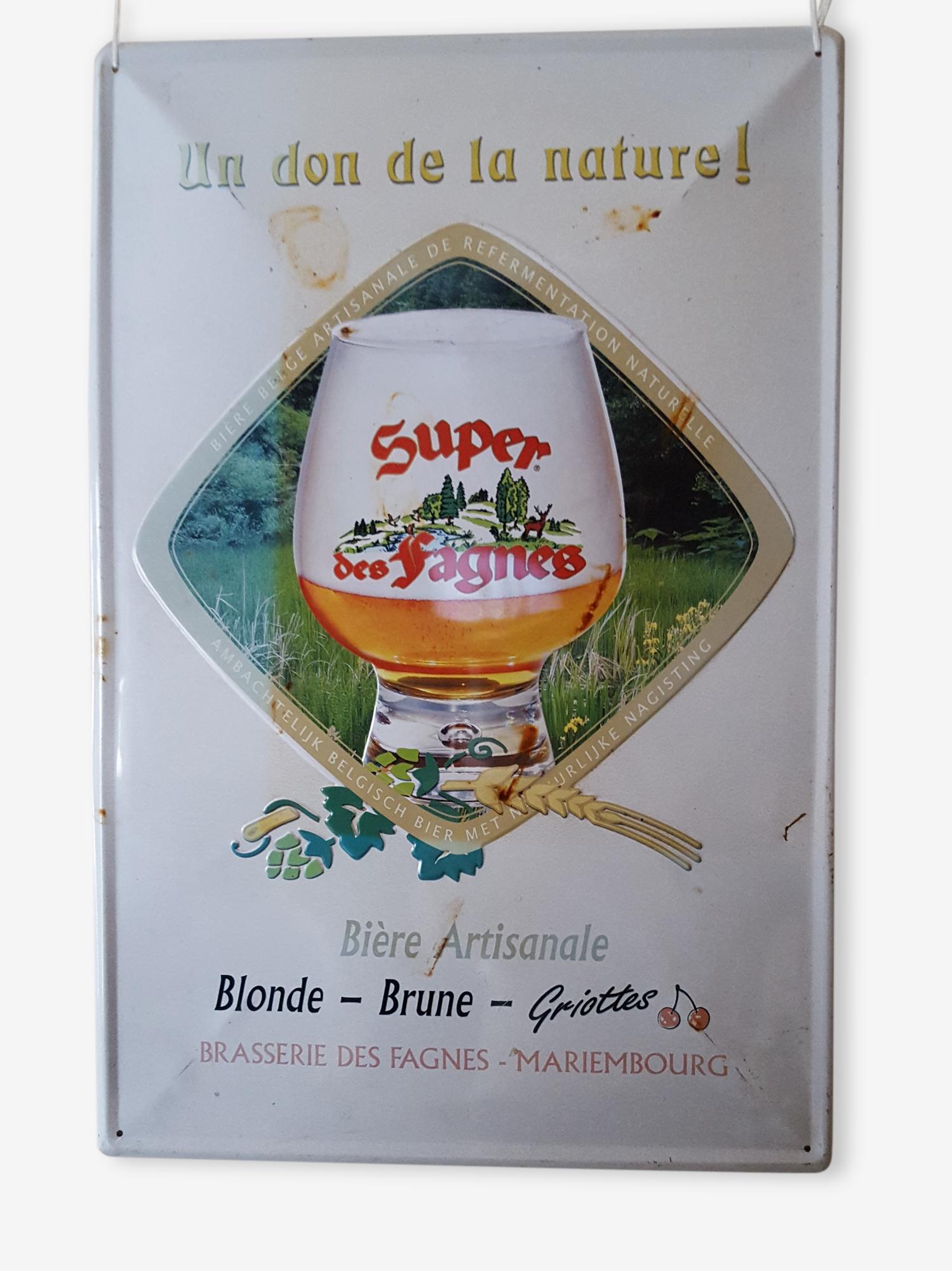 Plaque en tôle émaillée vintage Super des Fagnes