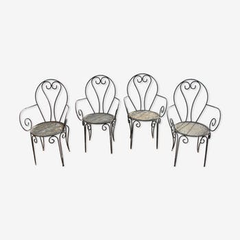 Series of 4 garden chairs in wrought iron of the 1950s