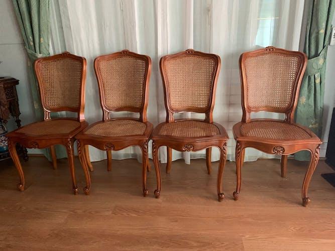 Lot de 6 chaises bois et cannage