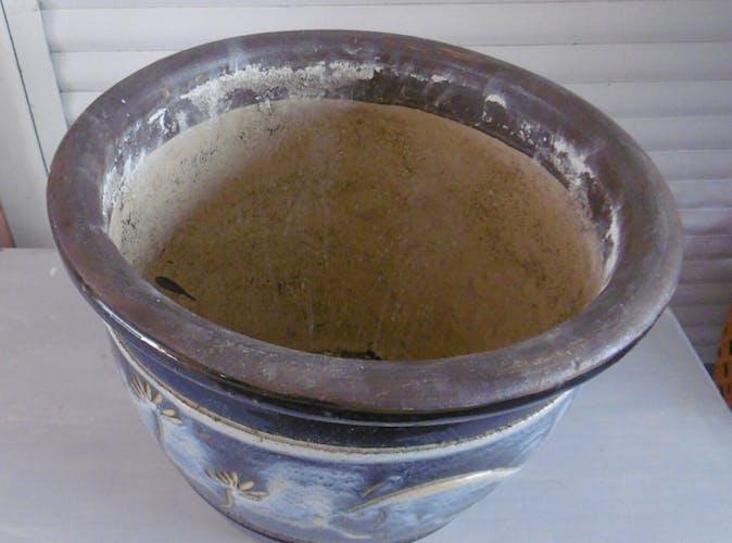 Cache pot terre cuite vernisse decor mediterranee