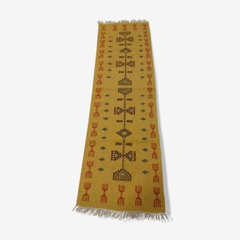 Tapis de couloir jaune en laine 208x64cm