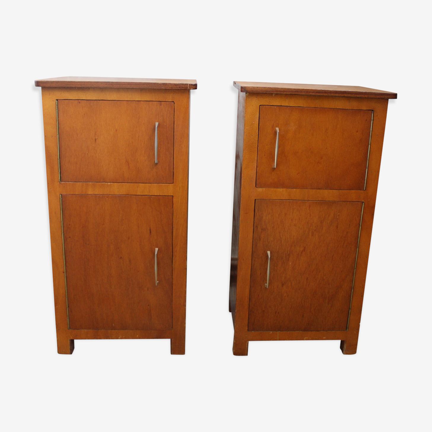 Paire de chevets en bois vintage