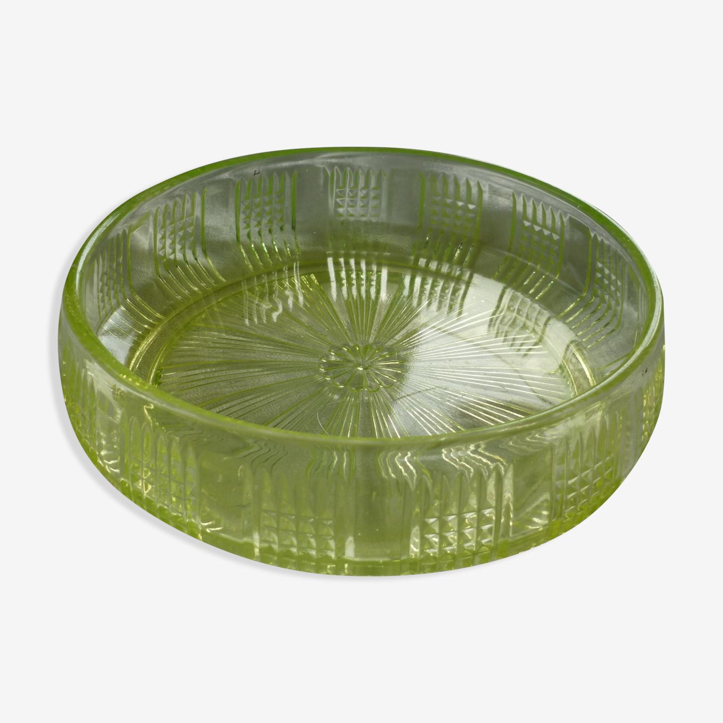 Saladier verre pressé moulé vert ouraline