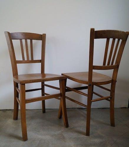 Paire de chaise de bistrot 1950